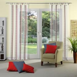 Perdea alba, transparenta, cu dungi verticale multicolor, 290cm, 91105_404